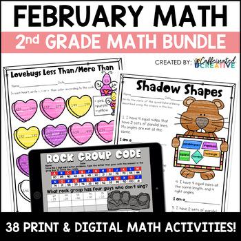 February No Prep Math Pack for Second Grade