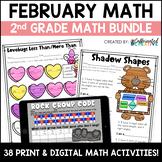 February Digital & Printable Math Activities Bundle for 2nd Grade