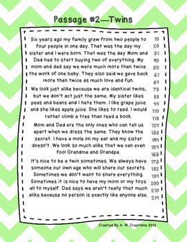 Second Grade Fluency and Comprehension Passages Set A (Passages 1-10) DORF