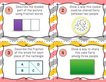 2.G.3 Second Grade Fraction Task Cards