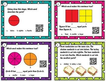 Fractions QR word problem task cards or scoot - Tek 2.3 A-D