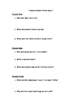 """Second Grade Friends Again"" Comprehension Questions"