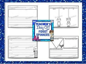 Second Grade Full Day Sub Plans Fidget Spinner Theme