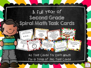 Second Grade Full Year of Spiral Math Task Cards