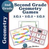Second Grade Geometry Games Set 2.G.1 2.G.2 and 2.G.3