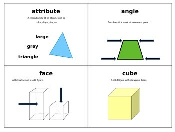 Second Grade Geometry Scoot and Vocabulary