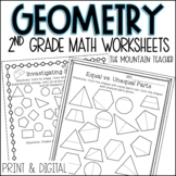 Second Grade Geometry Unit Shapes and Fractions Digital and Distance Learning