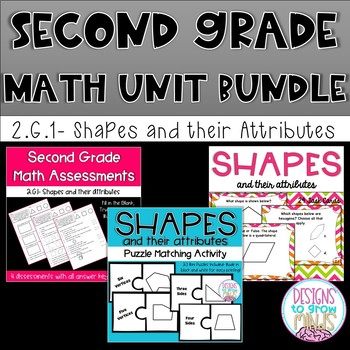 Second Grade Math Bundle- 2.G.1, 2.G.2, 2.G.3