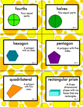 Second Grade Go Math Chapter 11 Vocabulary Cards