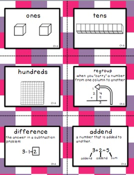 Second Grade Go Math Chapter 6 Vocabulary Cards