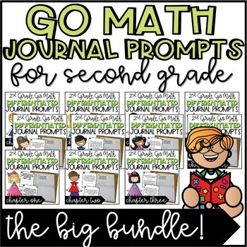 Second Grade Go Math Differentiated Math Journal Prompts BUNDLE