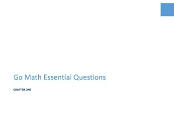 Second Grade Go Math Essential Questions - Chapter One