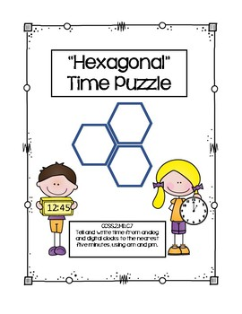Second Grade Hexagonal Time Puzzle CCSS Aligned