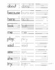 Second Grade High Frequency Site Word Handwriting Practice Booklet