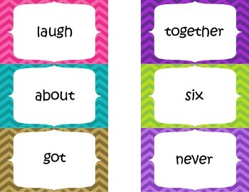 Second Grade High Frequency Word Flash Cards - Chevron