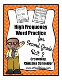 High Frequency Word Practice for Second Grade Unit 2
