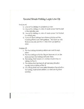 Second Grade Holiday Logic Line Up  NO PREP! common core aligned