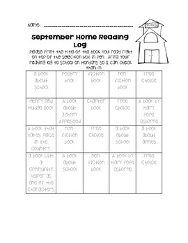 Second Grade Home Reading Log