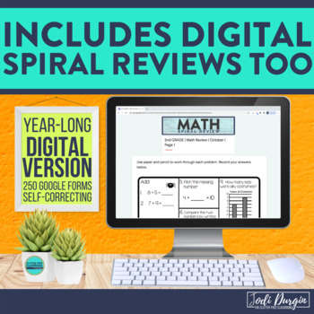 2nd Grade Math Worksheets Spiral Review Digital and Printable for Whole Year