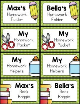 Second Grade Homework Organization: Editable