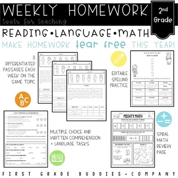 Second Grade Homework Shape Up {Weekly CC Aligned Homework for Reading and Math}