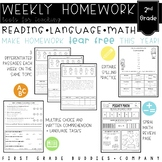 2nd Grade Differentiated Weekly Homework with Reading, Comprehension, Math