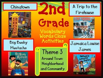 Houghton Mifflin Reading Second Grade Vocabulary Theme 3 Cloze Worksheets