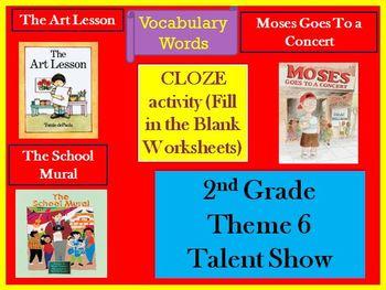 Houghton Mifflin Second Grade  Vocabulary Theme 6 Cloze Worksheets