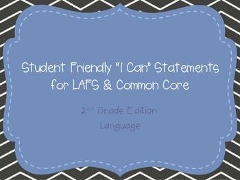 "Second Grade ""I Can"" Statements LAFS & Common Core Language"