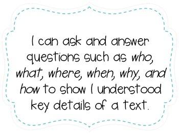 "Second Grade ""I Can"" Statements LAFS & Common Core Reading Plain"