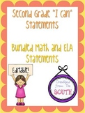 "Second Grade ""I Can"" Statements for ELA and Math Bundle EDITABLE!"