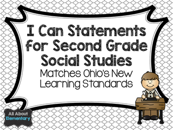 Second Grade I Can Statements for Social Studies