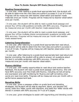 Second Grade IEP Goal Bank (editable)