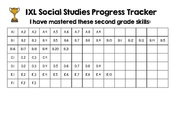 Second Grade IXL Science and Social Studies Tracker