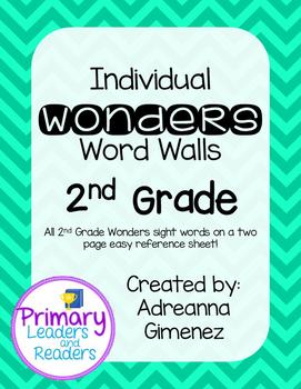 Second Grade Individual Wonders Word Walls