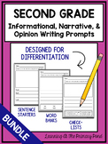 2nd Grade Writing Prompts {Informational, Narrative, & Opinion Writing BUNDLE}