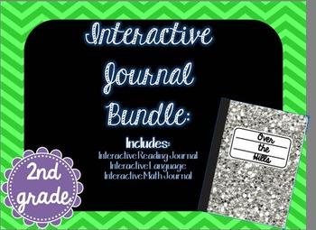 Second Grade Interactive Journals Bundle {Math, Language, Reading}