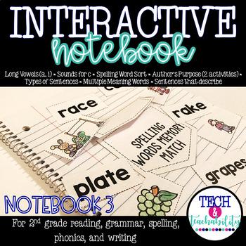 Long Vowels, Author's Purpose, Sentences Interactive Notebook