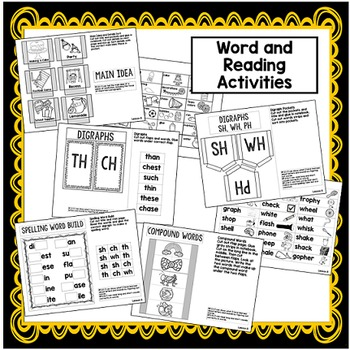Second Grade Interactive Notebook Week 8: Main Idea, Compound Words, Verbs