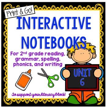 Second Grade Interactive Notebook Unit 6 {5 SETS} Phonics, Reading, Grammar