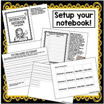 Second Grade Interactive Notebook Setup File: Back To School