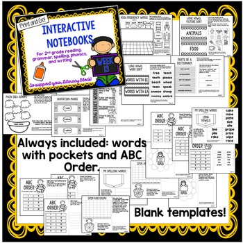 Second Grade Interactive Notebooks Unit 3 {5 WEEKS} Reading, Spelling, Grammar