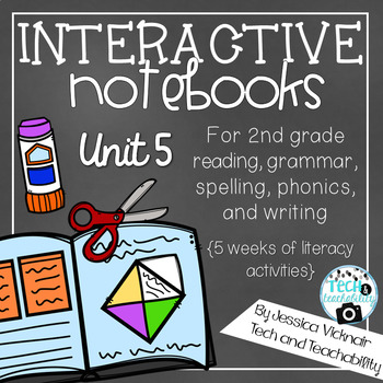 Second Grade Interactive Notebooks Unit 5 {5 WEEKS} Reading, Spelling, Grammar