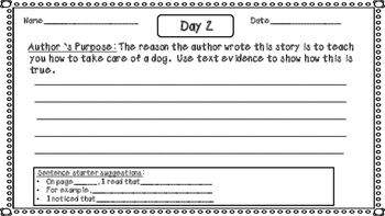 Second Grade JOURNEYS Daily Reading Response for Lesson 3- Dogs