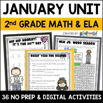 January Literacy and Math: No Prep Second Grade
