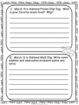 Second Grade Journal Writing for March