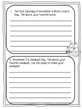 Second Grade Journal Writing for November
