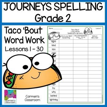 Second Grade Journeys 2012 Spelling Word Work Activities 30 Lessons
