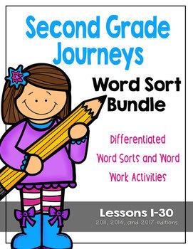 Second Grade Journeys Differentiated Word Sort Activities Complete Bundle