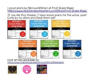 Journeys Lesson Plans Second Grade Lesson 8 FREEBIE